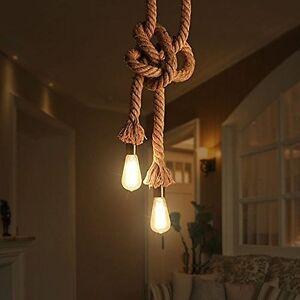 Lampe De Plafond Corde De Chanvre Tête Double Style De Rétro Ampoule E27