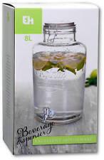 8l XXL Getränkespender, Wasserspender, Dispenser, Glas Behälter mit Zapfhahn #r1