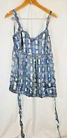 Women's Next Top Blouse Blue 100% Silk Size 14 sleeveless vest cami top