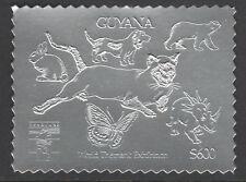 Guyana 6176 - 1992 GENOVA Exn in SILVER - CAT, DOG, BUTTERFLY, DINOSAUR, BEAR