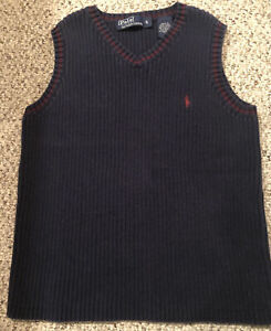 Ralph Lauren Polo Boys Cotton Sweater Vest Navy Blue With Red Size 6 Very Nice