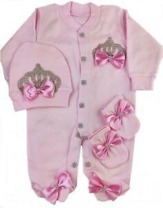 Baby Girl Newborn Crown Romper  gift Set 3 piece Bow Romper Set