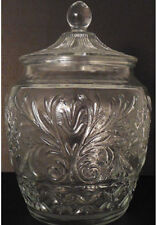 Vintage Clear Sandwich Glass Canister Cookie Jar with Ball Lid