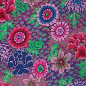 "48"" Remnant Kaffe Fassett Dream Floral PWGP148 Purple Cotton Fabric"