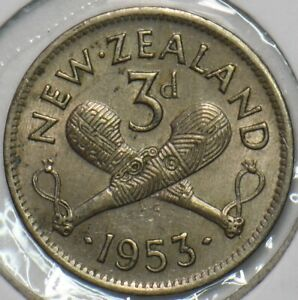 New Zealand 1953 3 Pence 903629 combine shipping