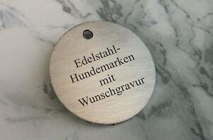 Hundemarke aus EDELSTAHL - RUND 32mm mit Logo + beidseitiger WUNSCHGRAVUR
