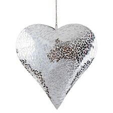 Large Silver Mosaic Glass Hanging Suncatcher Heart Mobile Garden Home Ornament