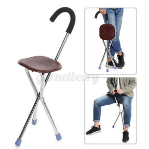 Safety 2in1 Aluminium Walking Stick with Seat Elders Folding Cane Travel Chair