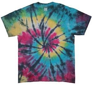 Black Rainbow TIE DYE T-SHIRT Hand Dyed tiedye New Unisex Festival Tee tshirt 01