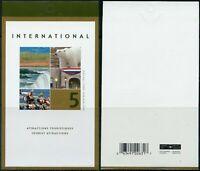 Canada BK271b: pane of 5 x $1.25 Tourist Attractions, open cover, Scott 1990