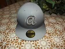 NEW ERA Atlanta Braves 59Fifty Fitted Hat New 7 5/8 Gray with Small a RETRO