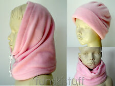 Girls Kids PALE PINK SNOOD fleece neck warmer scarf skiing hat balaclava school