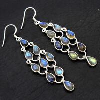 Spectrolite Labradorite Jewelry 925 Sterling Silver Solid Long Dangle Earrings