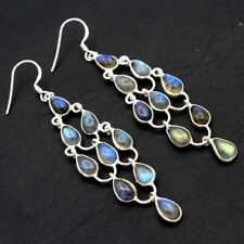 925 Sterling Silver Natural Spectrolite Labradorite Long Dangle Earrings Jewelry