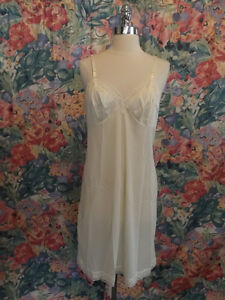 Vanity Fair IVORY NYLON FULL SLIP 36/42 Semi Sheer Nylon, Contoured Breast Cups