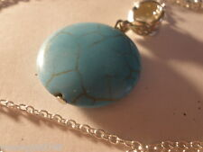 "FASHION JEWELRY 26"" SILVER CHAIN & TURQUOISE ROUND PENDANT"