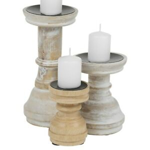 Rustic Vintage Wooden Pillar Table Decoration Candle Tea Holders Stick 3 Sizes