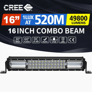 16inch LED Light Bar Slim Tri-Row Flood Spot Combo Beam 4X4 Offroad