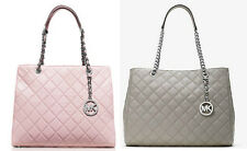 MICHAEL KORS SUSANNAH LARGE TOTE SATCHEL QUILTED LEATHER PINK OR GRAY NWT $450