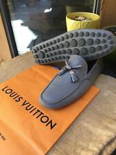 AUTH LOUIS VUITTON MENS SHOES TAIGA LEATHER DRIVING LOAFERS US 8.5 MADE IN ITALY