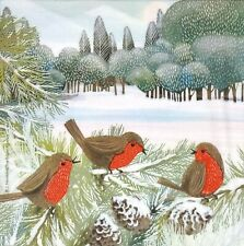 N869# 3x Single Paper Napkins For Decoupage Winter Forest Robin Bird Meeting