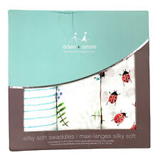 Aden + Anais 3 Pack Silky Soft Swaddling Blankets Lady Bug Floral Stripe NEW