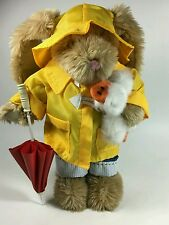 Bunny Rabbit n Duck w/raincoat umbrella Wood Frame/ stands on own plush