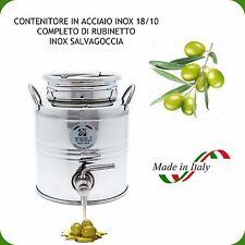 CONTENITORE INOX 18/10 LT.3 PER OLIO COMPLETO DI RUBINETTO NOX