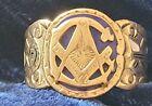 Vintage 14K Yellow Gold Masonic Men's Cobalt Blue Enamel Ring -Size 12 -1940's for sale