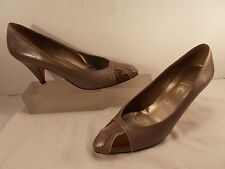 AMALFI (HAND MADE IN ITALY) TAUPE SOFT LEATHER MID HEEL PUMP 6 1/2 B $395.00!!