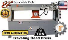 NEW!! CJRTec 25 Ton Traveling Head Clicker Press Semi Automatic Extra Wide Table