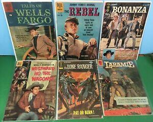 DELL WESTERN (6) Comic LOT-BONANZA, The Rebel, Wells Fargo, LARAMIE, Westward HO