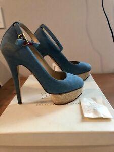 Charlotte Olympia denim heels with box