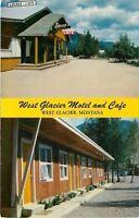 West Glacier Montana~Windows Open @ West Glacier Motel and Cafe~1960 Postcard