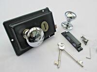 OLD VINTAGE PERIOD VICTORIAN STYLE SOLID BRASS BLACK RIM LOCK DOOR KNOB HANDLES