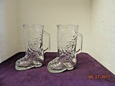 2 VINTAGE COWBOY WESTERN BOOT SHAPED CLEAR GLASS BEER MUG DRINKING CUP ORIGINAL