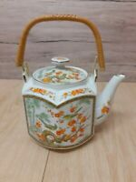 Vintage Japanese oriental Tea Pot cherry blossom/peacock