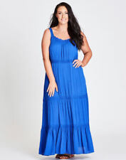 Autograph Cobalt Blue Tiered Beach Holiday Party Maxi Dress Short Sleeve 16