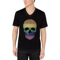 INC Mens T-Shirt Black Size 2XL Graphic Tee Rainbow Skull Printed $39 #043