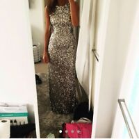 SCALA Sequin floor length dress Silver / Grey EMBELLISHED MAXI - FINAL PRICE