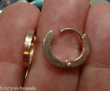 UNISEX 14mm Rose Gold Stainless Steel Huggie Hoop Earrings PERFECT 4 OUR CHARMS