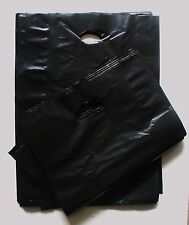 250 Plastic Die Cut Gift Fashion Carry Shopping Bags - LARGE Black 500x350+100mm
