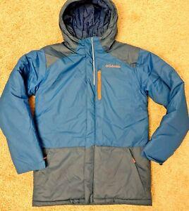 New Boys Columbia Snow Ski Jacket L Blue Orange Zipper Insulated