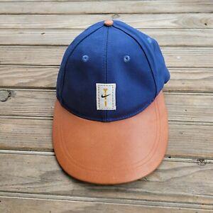 Vtg 90s Nike Golf Leather Brim Adjustable Hat Blue/Brown RARE
