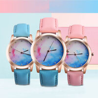 Fashion Retro Rainbow Casual Design Leather Band Analog Alloy Quartz Wrist Watch