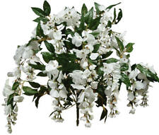 "White Wisteria 14 Stems 24"" Tall Bush Natural Looking Artificial Flowers Decors"