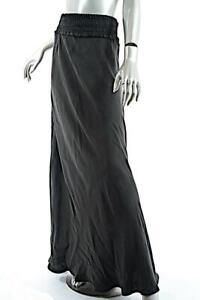 KES Graphite 100% Silk Bias Cut Long Flounced Leather Elastic Waist Skirt  Sz L
