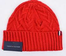 TOMMY HILFIGER Women's Knitted Beanie Hat, Red, One Size Adult