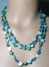 Beads with Wooden Beads Necklace Triple Strand Turquoise Blue Shell