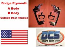 1968 68 1969 69 Plymouth Dodge B-body DOOR HANDLE Pair w// Black Buttons USA-made